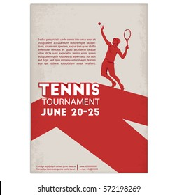 Tennis player. Poster, Flyer in Retro Style. Text and background on a separate layer, color can be changed in one click.