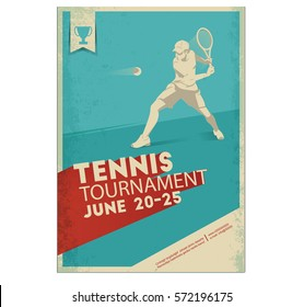 Tennis player. Poster,Flyer in Retro Style.. Text and background on a separate layer, color can be changed in one click.