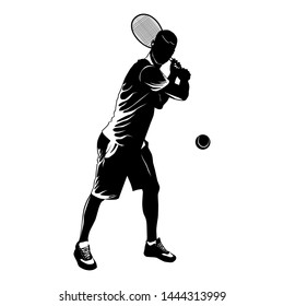 Tennis player with racket and ball black silhouette on white background, vector illustration.