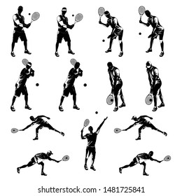 Tennis player with racket and ball black silhouette set on white background, vector illustration. Basic tennis strokes.