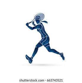 Tennis player running , Woman play tennis designed using blue grunge brush graphic vector.
