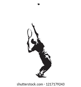 Tennis player serving ball, isolated vector ink drawing. Vector silhouette. Tennis service