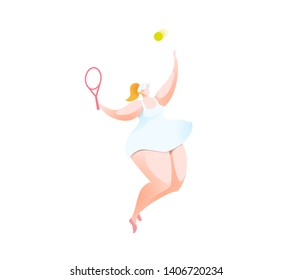 Tennis Player serving high to hit an Ace in this Championship match. Summer Sport. Cartoon Character Illustration Isolated On White background