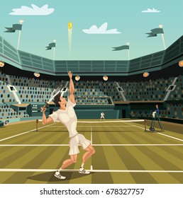 Tennis player serving on tournament for winning