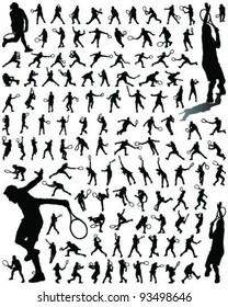 tennis player silhouettes and shadows-vector