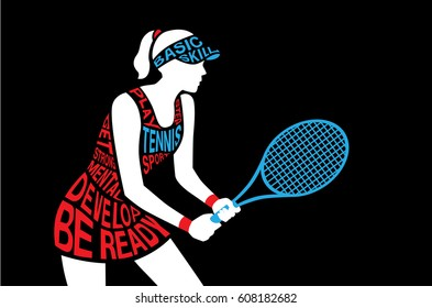 Tennis player standing and hold a racket in hand on black. Illustration from text concept.