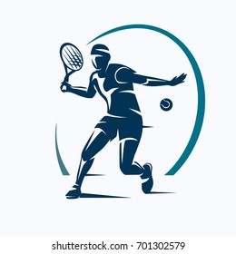 tennis player stylized vector silhouette, emblem or logo template