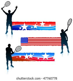 Tennis Player and United States Banner Set Original Vector Illustration