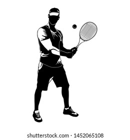 Tennis player wearing cap with racket and ball black silhouette on white background, vector illustration. Basic tennis strokes.