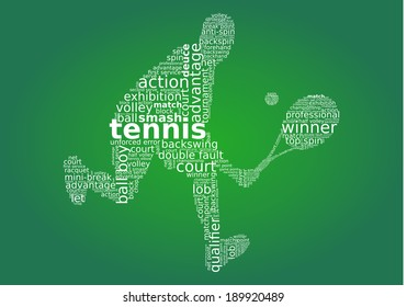 Tennis player word cloud concept in vector