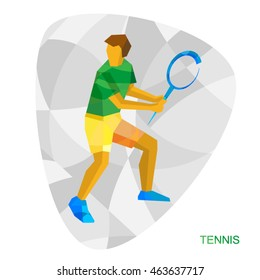 Tennis player in yellow and green. Flat athlete icon - vector clip art. Symbol for sport Infographic or logo - Big Tennis.