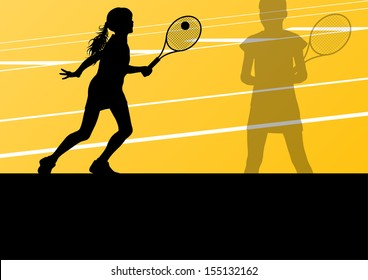 Tennis players active sport silhouettes vector background illustration