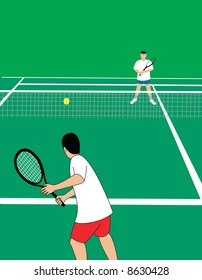 Tennis players at tennis court. Vector illustration.