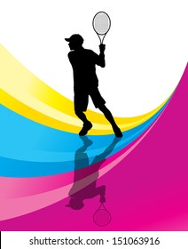 Tennis players detailed silhouettes vector background concept illustration