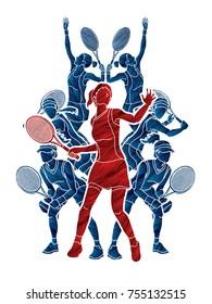 Tennis players , Women action designed using grunge brush graphic vector.