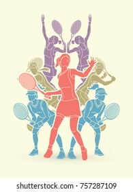 Tennis players , Women action designed using colorful graphic vector.