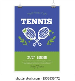 Tennis Poster in grunge style, modern flyer, Tournament template, game layout