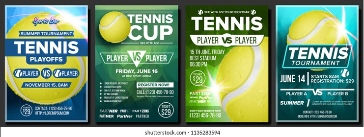 Tennis Poster Set Vector. Design For Sport Bar Promotion. Court, Tennis Ball. Modern Flyer Tournament. Sport Event Announcement. Banner Advertising. Label Template Illustration