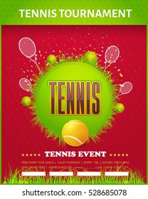 Tennis Poster Vector Background. Grand Slam Event Info Postcard Design and Sports Ad Web Banner or Vertical Card Template. Realistic Ball and Racket Illustration