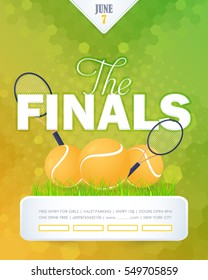 Tennis Poster Vector Background. Grand Slam Event Info Postcard Design and Sports Ad Web Banner or Horizontal Card Template. Realistic Ball and Racket Illustration