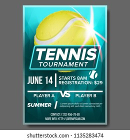 Tennis Poster Vector. Banner Advertising. A4 Size. Sport Event Announcement. Announcement, Game, League, Camp Design. Championship Template Illustration