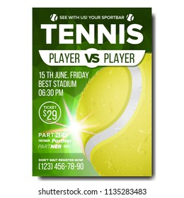Tennis Poster Vector. Sports Bar Event Announcement. Vertical Banner Advertising. Court. Professional League. A4 Size. Event Label, Flyer Blank Illustration
