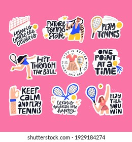 Tennis quotes, sport phrases vector letterings set. Athletes and sport facilities flat illustrations with typography collection. Handwritten mottos inscriptions isolated doodle drawings pack