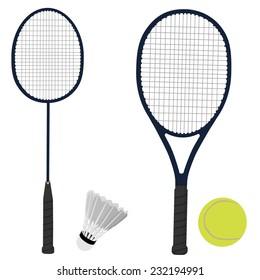 Tennis racket, badminton racket, shuttlecock, tennis ball, sport equipment