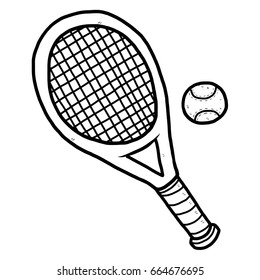 tennis racket and ball / cartoon vector and illustration, black and white, hand drawn, sketch style, isolated on white background.