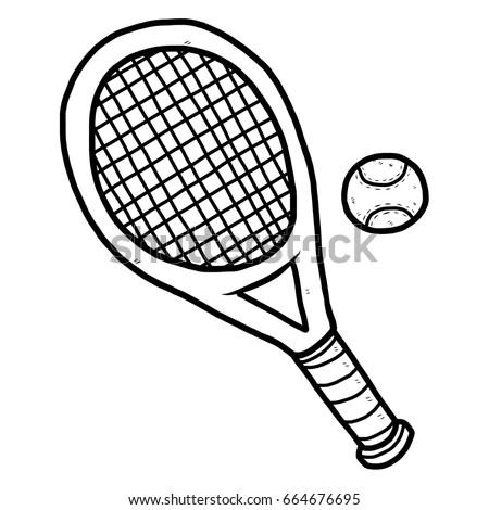 Tennis Racket Ball Cartoon Vector Illustration Stock Vector Royalty