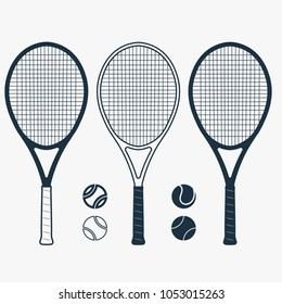 Tennis racket and ball, gear for the game, Equipment for Competition. vector