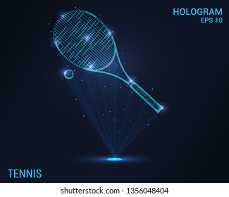 Tennis racket and ball hologram. Digital and technological tennis background. Futuristic tennis design