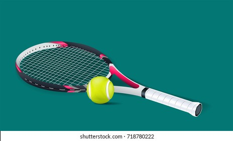 Tennis racket with a tennis ball on a tennis court isolated on green background. vector and illustration.