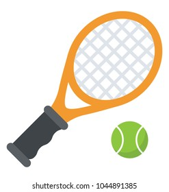 Tennis racket and a ball represents game of squash or lawn tennis