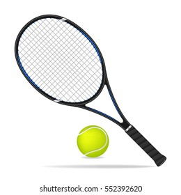 Tennis racket and ball, vector design
