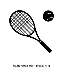 Tennis Racket and Ball Vector Icon Black silhouette isolated on white