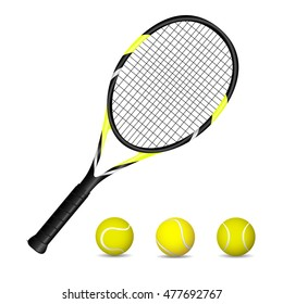 Tennis racket and balls. Vector illustration.