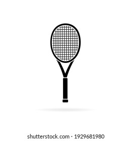 Tennis racket black silhouette, icon isolated on white background. Simple flat design. Vector illustration.