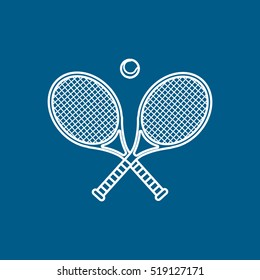 Tennis Racket Cross Line Icon On Blue Background