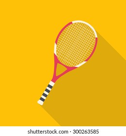 Tennis racket flat design with long shadow