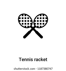 Tennis racket icon vector isolated on white background, logo concept of Tennis racket sign on transparent background, filled black symbol