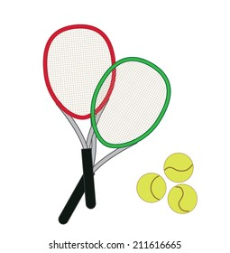 tennis racket isolated on white background (vector illustration)