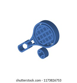Tennis racket isometric left top view 3D icon