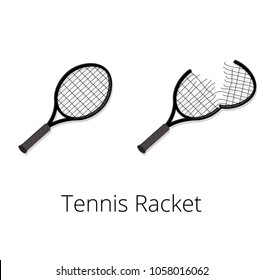 Tennis racket and torn tennis racket