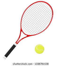 Tennis racket with yellow ball. 3d vector illustration isolated on white background