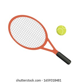 Tennis racket with yellow ball on white background. Vector illustration in trendy flat style. EPS 10.