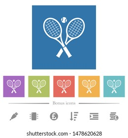 Tennis rackets with ball flat white icons in square backgrounds. 6 bonus icons included.