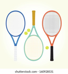 Tennis rackets and balls isolated vector