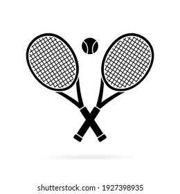 Tennis rackets crossed and ball silhouette, icon isolated on white background. Simple flat design. Vector illustration.