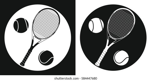 Tennis racquet and tennis ball icon. Silhouette tennis racquet and tennis ball on a black and white background. Sports Equipment. Vector Illustration.